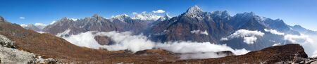 Panoramic view of Mount Everest, Lhotse and Ama Dablam from Kongde, Sagarmatha national park, Khumbu valley, Solukhumbu, Nepal Himalayas mountains