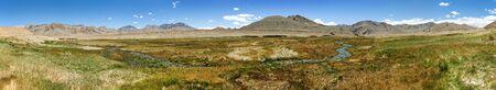 Panorama of Pamir mountains in Tajikistan Badakhshan. Landscape around Pamir highway or Pamirskij trakt.