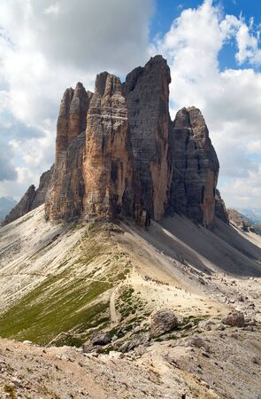 View of Drei Zinnen or Tre Cime di Lavaredo with beautiful cloud on sky, Dolomites mountains, Dolomites mountains, Italy
