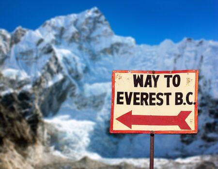signpost way to mount everest b.c. and mount Nuptse, Nepal Himalayas mountains