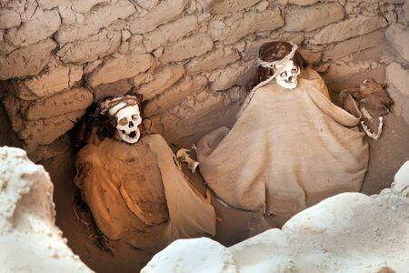 Historical excavations of preinca nazca civilisation cemetery of Chauchilla at Nazca in Peru