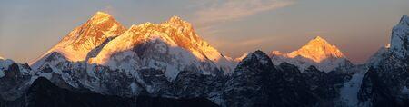 Evening sunset view of Mount Everest Lhotse and Makalu from Renjo pass. Three passes and Mt Everest base camp trek, Khumbu valley, Solukhumbu, Sagarmatha national park, Nepal Himalayas mountains Stock Photo