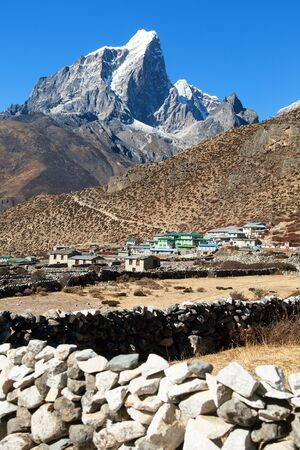 Lodge or hotel in Dingboche village and Himalayas - way to mount Everest base camp - Khumbu valley - Nepal
