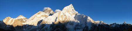 Evening sunset panoramic view of mount Everest with beautiful blue sky from Kala Patthar, Khumbu valley, Sagarmatha national park, Nepal Himalayas mountains
