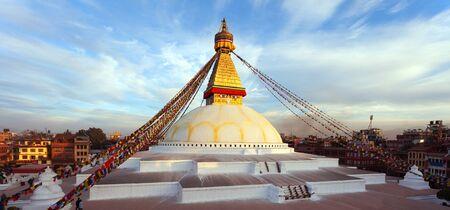 View of Bodhnath stupa, one from the best buddhist stupas on the world, the biggest stupa in Kathmandu city, evening sunset view, Nepal buddhism