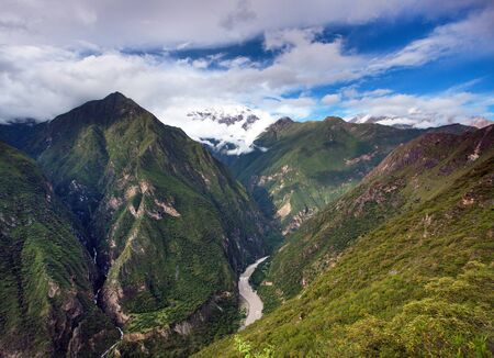 Rio Apurimac, Apurimac is upper part of the longist  and the largest Amazon river, view from Choquequirao trekking trail, Cuzco area, Peruvian Andes