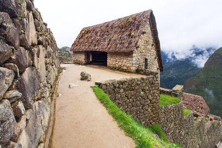 Machu Picchu, detail from peruvian incan town, Cusco region, Peru