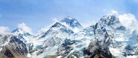 himalaya, panoramic view of himalayas mountain, Mount Everest with beautiful sky and Khumbu Glacier - way to Everest base camp, Khumbu valley, Sagarmatha national park, Nepalese himalayas Stock Photo