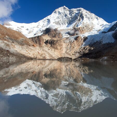 Mount Makalu lake in Makalu Barun National Park, Nepal Himalayas mountains