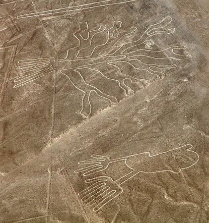 Tree and hands geoglyphs, Nazca mysterious lines and geoglyphs aerial view, landmark in Peru