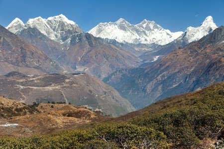 Panoramic view of Mount Everest, Lhotse and Ama Dablam from Kongde village - Sagarmatha national park - Nepal Himalaya mountains