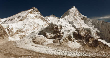 Old sepia colored view of Mount Everest, Nuptse and Lhotse from Pumori base camp. Made as old photography, Sagarmatha national park, as mountains