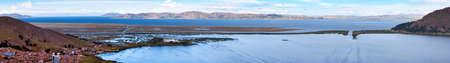Puno city and Titicaca lake panoramic view of peruvian town