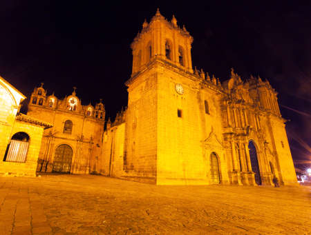 night view of Cusco or Cuzco cathedral on main square Plaza de Armas, Peru