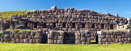 Panoramic view of Sacsayhuaman, Inca ruins in Cusco or Cuzco town, Peru