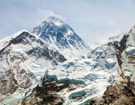 Mount Everest, View of top with clouds from Kala Patthar way to mount Everest base camp, khumbu valley, Nepal Himalayas mountains Stock Photo