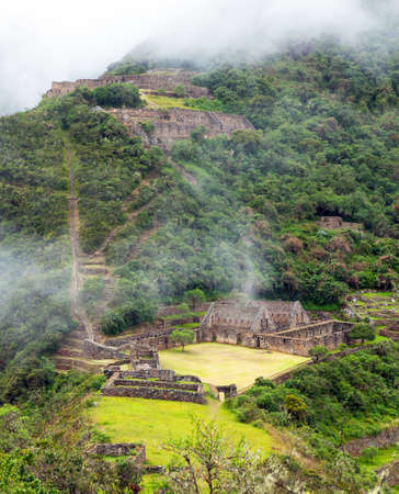 Choquequirao, one of the best Inca ruins in Peru. Choquequirao Inca trekking trail near Machu Picchu. Cuzco region in Peru