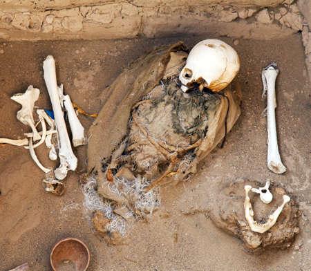 Historical excavations of preinca Nazca or Nasca civilization cemetery of Chauchilla at Nazca area in Peru