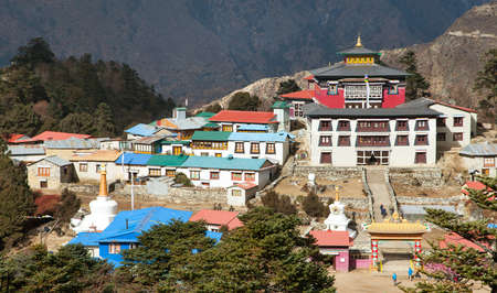 Tengboche Monastery, the best monastery in Khumbu valley, trek to Everest base camp, Sagarmatha national park, Nepal himalayas mountains