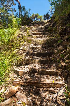 Choquequirao trekking inca trail, pathway from Coquequirao to Machu Picchu in Peru, Andes mountains