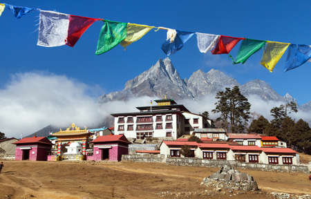 Tengboche Monastery with prayer flags, the best monastery in Khumbu valley, trek to Everest base camp, Sagarmatha national park, Nepal himalayas mountains