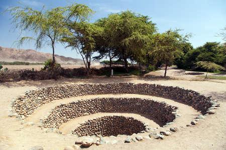 Cantalloc Aqueduct in Nazca or Nazca town, spiral or circle aqueducts or wells, Peru, Inca architecture and culture Standard-Bild