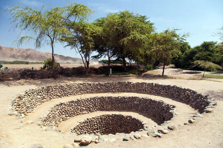 Cantalloc Aqueduct in Nazca or Nazca town, spiral or circle aqueducts or wells, Peru, Inca architecture and culture Stock fotó