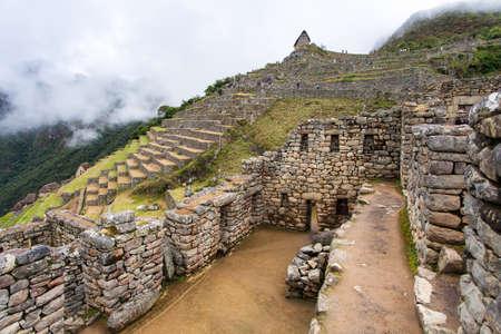 Machu Picchu, detail from peruvian incan town, sacred valley, Cusco region, Inca trail, Peru