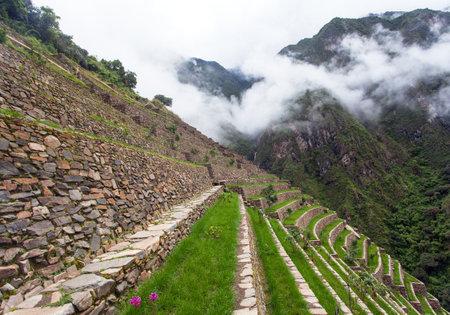 Choquequirao, one of the best Inca ruins in Peru. Choquequirao Inca trekking trail near Machu Picchu. Cuzco region in Peru. Terraced fields