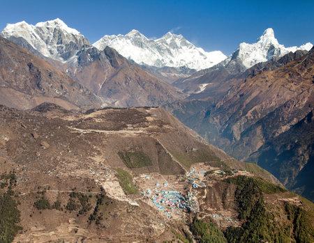 view of Mount Everest, Lhotse, Ama Dablam and Namche Bazar from Kongde - Sagarmatha national park - Nepal Zdjęcie Seryjne