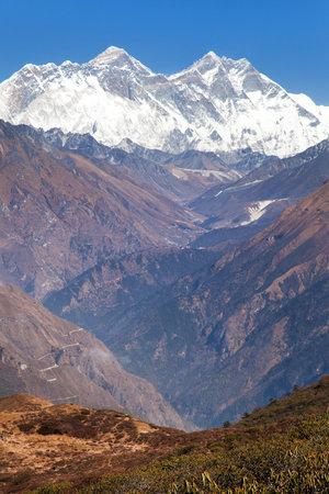 view of Mount Everest, Nuptse rock face, Mount Lhotse and Lhotse Shar from Kongde - Sagarmatha national park - Nepal