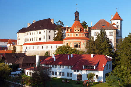 Castle chateau palace and the town of Jindrichuv Hradec afternoon or early evening view, South Bohemia, Czech republic