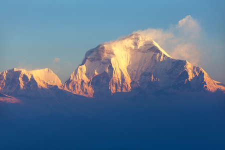 Morning panoramic view of Mount Dhaulagiri from Poon Hill view point, Nepal Himalayas mountains