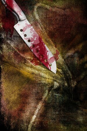Art grunge background that looks like filthy, bloody piece of clothing and huge bloody steel knife Stock Photo - 12207721