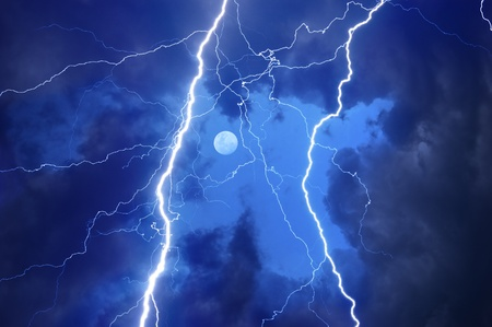 thunder: Heavy clouds bringing thunder, lightnings and storm.