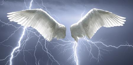 alas de angel: Alas de ángel con el fondo hechas de cielo y los relámpagos.