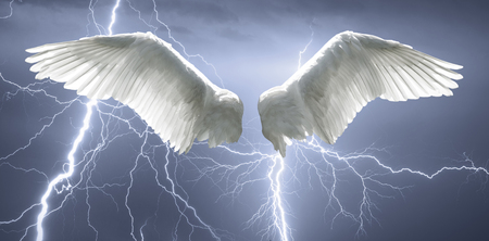 Angel wings with background made of sky and lightning.