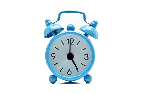 back in an hour: The blue alarm clock tells the time. Stock Photo