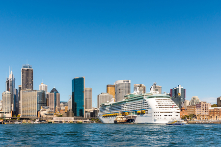 nsw: Large cruise ship, Dock downtown, It is another tourist attraction, Of Sydney, Australia Editorial