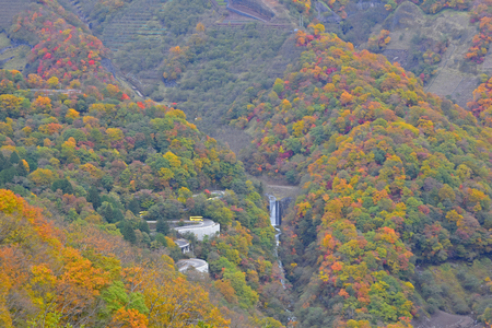 Natural waterfall, Autumn is about to change color, It is a tourist attraction of Nikko, Japan.