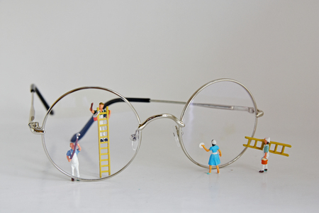 Minifigure, Concept Cleaners in Blue, Housewife cleaning glasses