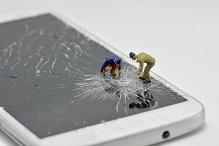 Concept, Repair Team, Phone Screen Repair, On a white background