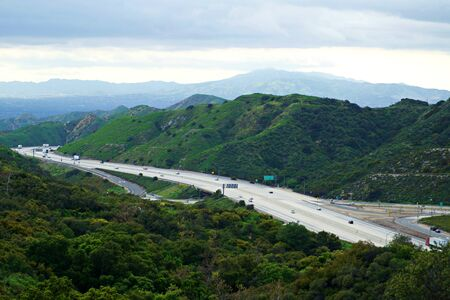 Californian freeway surronded by mountains