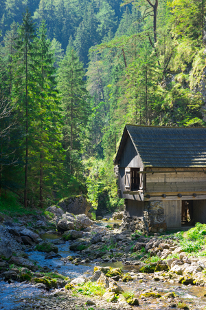 mill valley: Beautiful old water mill in forest, Kvacany valley, Slovakia Stock Photo