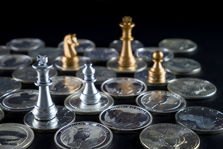 gold and silver coins: Silver chessboard, silver and gold chess, silver coins with black background