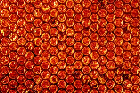 polyethylene film: Red air bubble protective foil background, detail Stock Photo