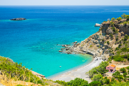 A view of greek bay, Crete, Greece, azure sea with small beach Banco de Imagens