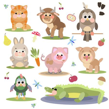 vector illustration of cute animals on white background Illustration