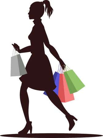 vector illustration of girl running with shopping Illustration