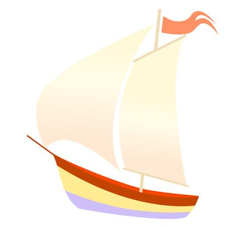 Vector illustration of boat on white background
